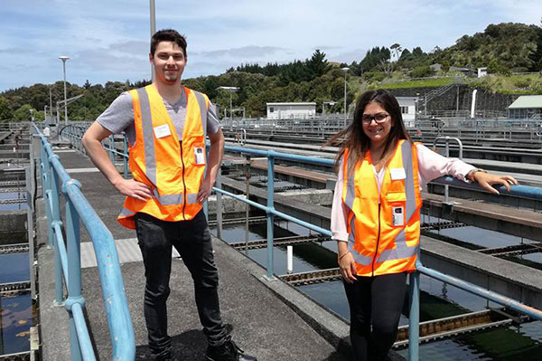 Larrissa and Sam on their first day of placement with Watercare